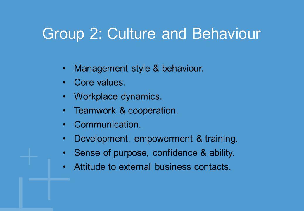 Management style & behaviour. Core values. Workplace dynamics.