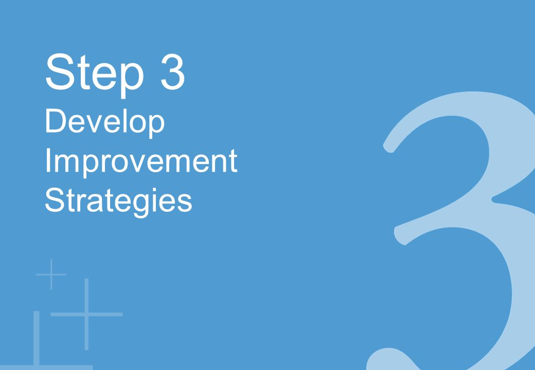 Step 3 Develop Improvement Strategies