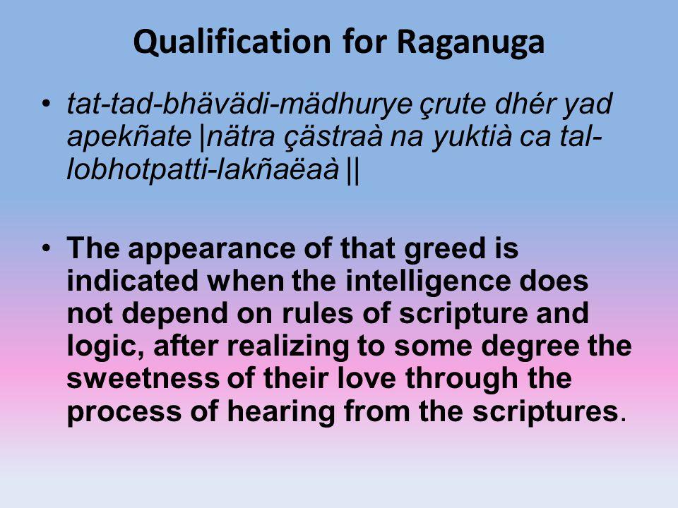Qualification for Raganuga tat-tad-bhävädi-mädhurye çrute dhér yad apekñate |nätra çästraà na yuktià ca tal- lobhotpatti-lakñaëaà || The appearance of