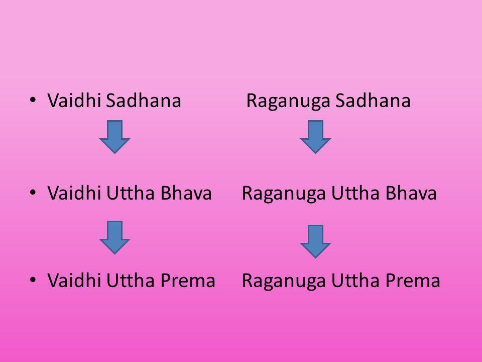 Vaidhi Sadhana Raganuga Sadhana Vaidhi Uttha Bhava Raganuga Uttha Bhava Vaidhi Uttha Prema Raganuga Uttha Prema
