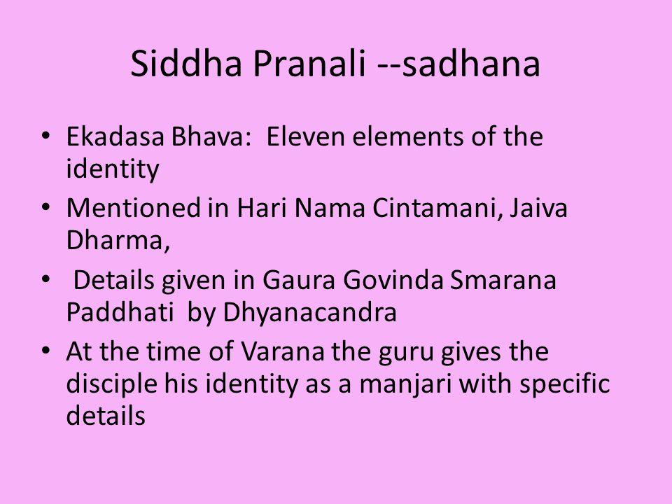 Siddha Pranali --sadhana Ekadasa Bhava: Eleven elements of the identity Mentioned in Hari Nama Cintamani, Jaiva Dharma, Details given in Gaura Govinda