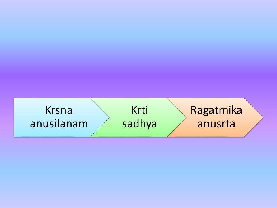 Krsna anusilanam Krti sadhya Ragatmika anusrta