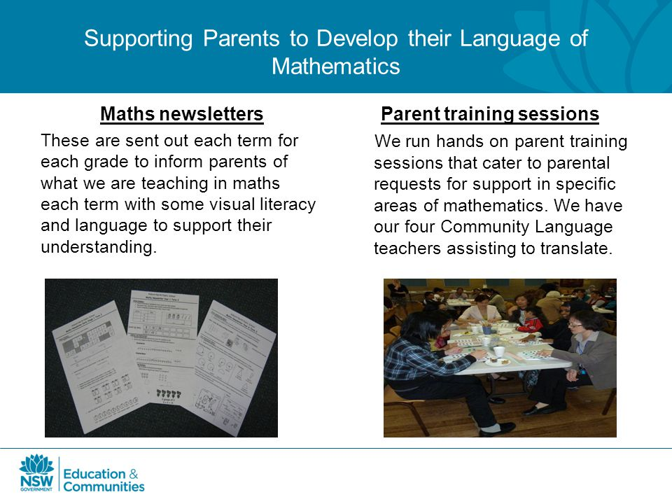 Supporting Parents to Develop their Language of Mathematics Maths newsletters These are sent out each term for each grade to inform parents of what we
