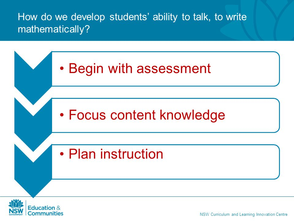 NSW Curriculum and Learning Innovation Centre How do we develop students' ability to talk, to write mathematically? Begin with assessmentFocus content