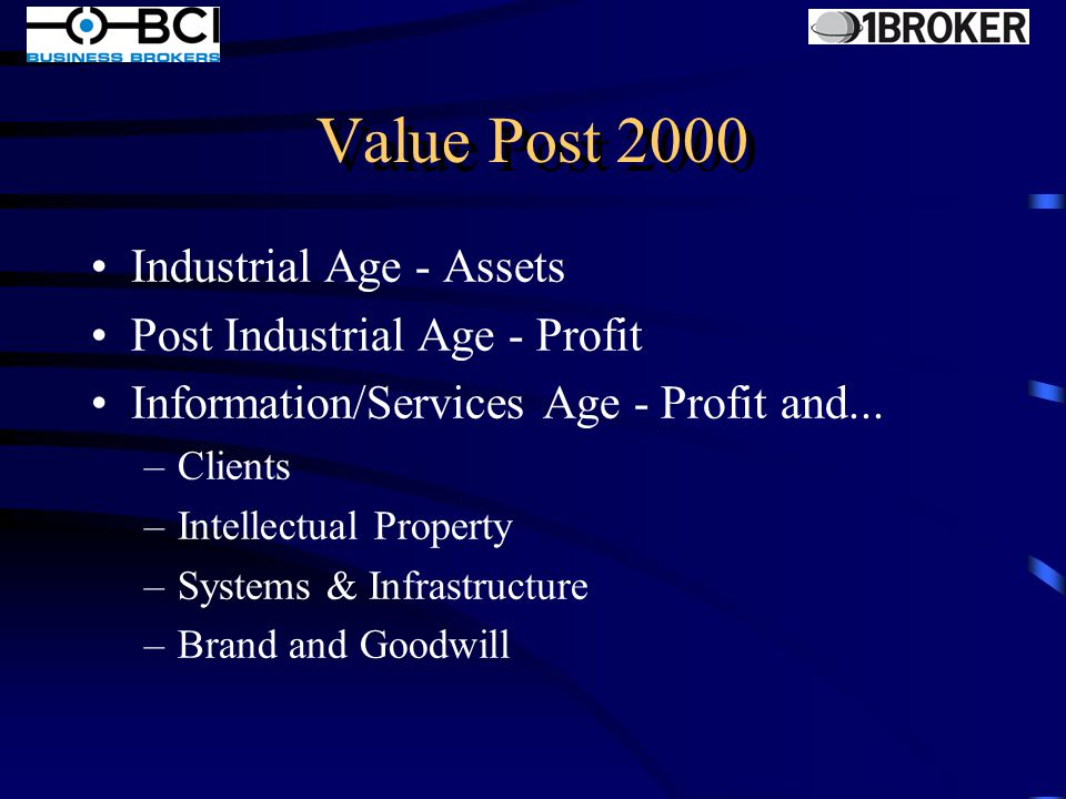 Value Post 2000 Industrial Age - Assets Post Industrial Age - Profit Information/Services Age - ?????