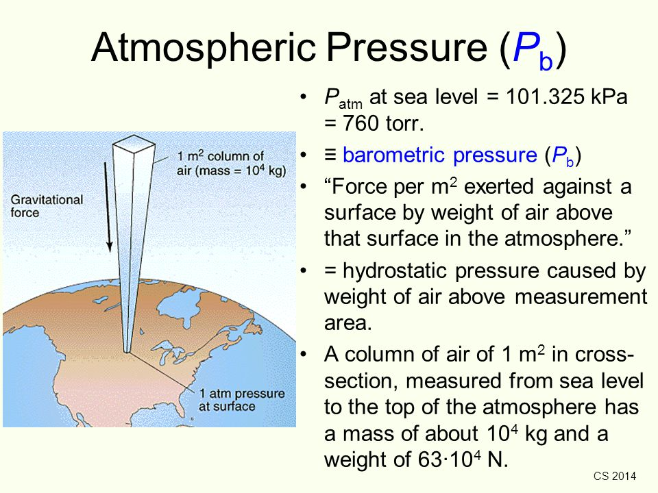 "CS 2014 Atmospheric Pressure (P b ) P atm at sea level = 101.325 kPa = 760 torr. ≡ barometric pressure (P b ) ""Force per m 2 exerted against a surface"