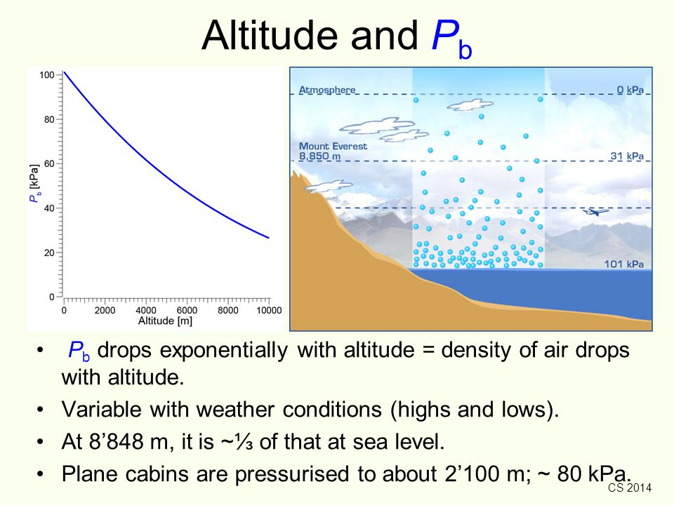 CS 2014 Altitude and P b P b drops exponentially with altitude = density of air drops with altitude. Variable with weather conditions (highs and lows)