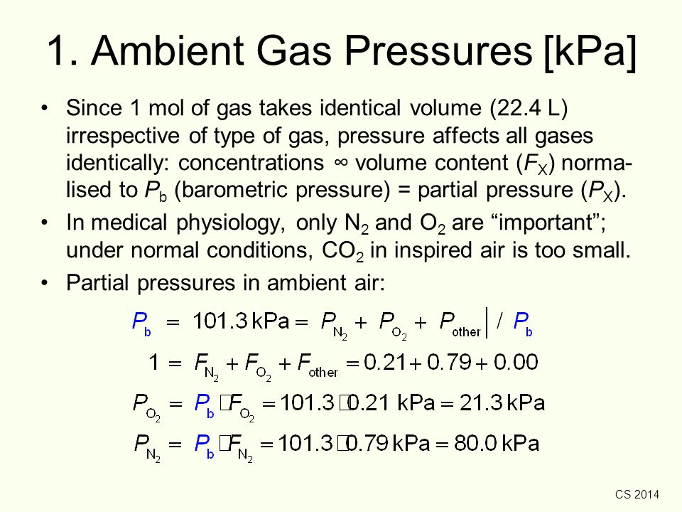 CS 2014 Water Vapour Pressure Upon inhaling, H 2 O vapour becomes part of air/gas mixture → reduces partial pressures of all inspired gasses (O 2, N 2, CO 2, etc.).