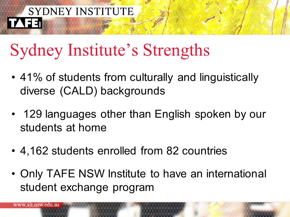 www.sit.nsw.edu.au Sydney Institute's Strengths 41% of students from culturally and linguistically diverse (CALD) backgrounds 129 languages other than English spoken by our students at home 4,162 students enrolled from 82 countries Only TAFE NSW Institute to have an international student exchange program