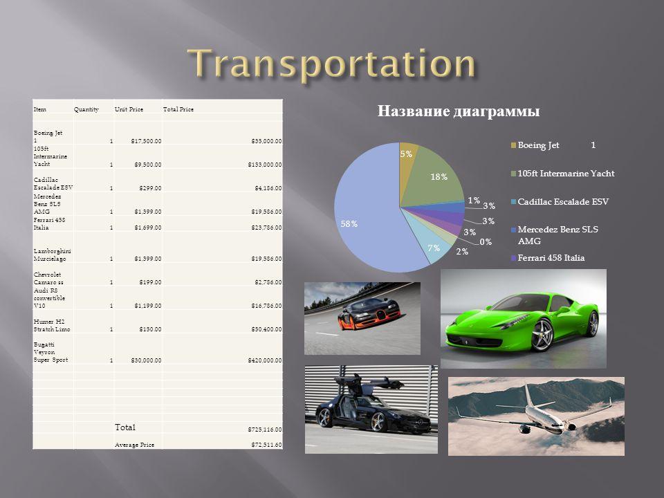 ItemQuantityUnit PriceTotal Price Boeing Jet 11$17,500.00$35,000.00 105ft Intermarine Yacht1$9,500.00$133,000.00 Cadillac Escalade ESV1$299.00$4,186.00 Mercedez Benz SLS AMG1$1,399.00$19,586.00 Ferrari 458 Italia1$1,699.00$23,786.00 Lamborghini Murcielago1$1,399.00$19,586.00 Chevrolet Camaro ss1$199.00$2,786.00 Audi R8 convertible V101$1,199.00$16,786.00 Humer H2 Stratch Limo1$150.00$50,400.00 Bugatti Veyron Super Sport1$30,000.00$420,000.00 Total $725,116.00 Average Price$72,511.60