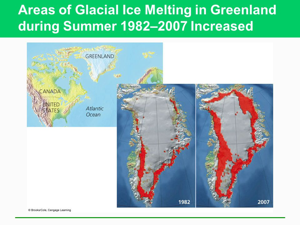 Areas of Glacial Ice Melting in Greenland during Summer 1982–2007 Increased