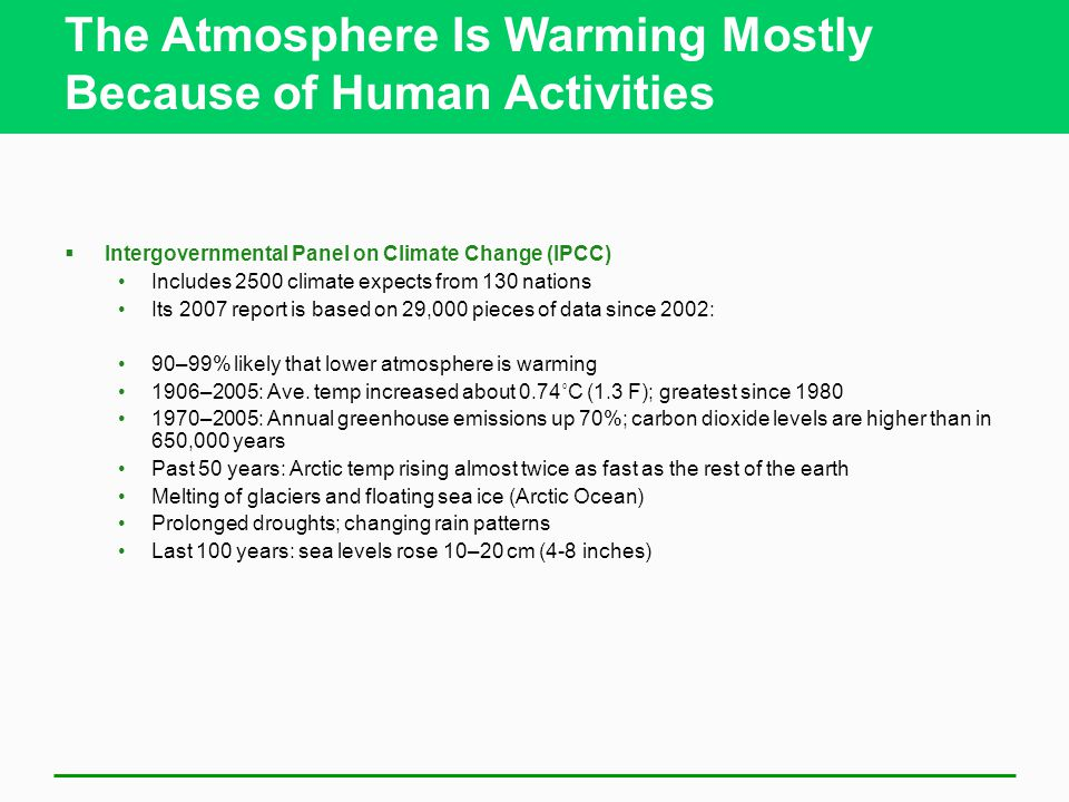 The Atmosphere Is Warming Mostly Because of Human Activities  Intergovernmental Panel on Climate Change (IPCC) Includes 2500 climate expects from 130