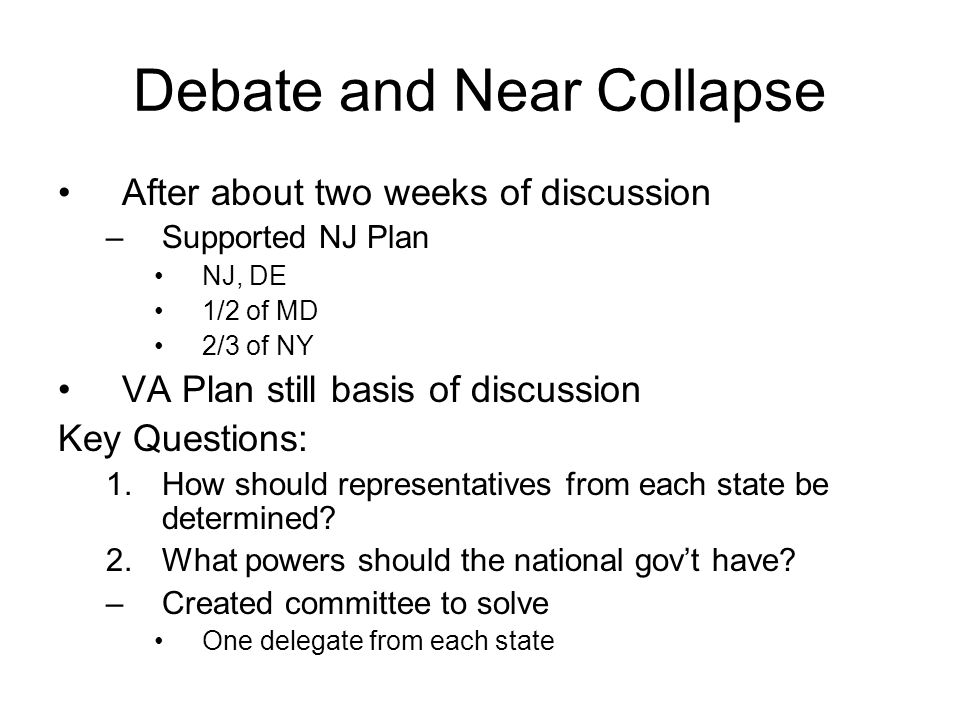 Debate and Near Collapse After about two weeks of discussion –Supported NJ Plan NJ, DE 1/2 of MD 2/3 of NY VA Plan still basis of discussion Key Quest