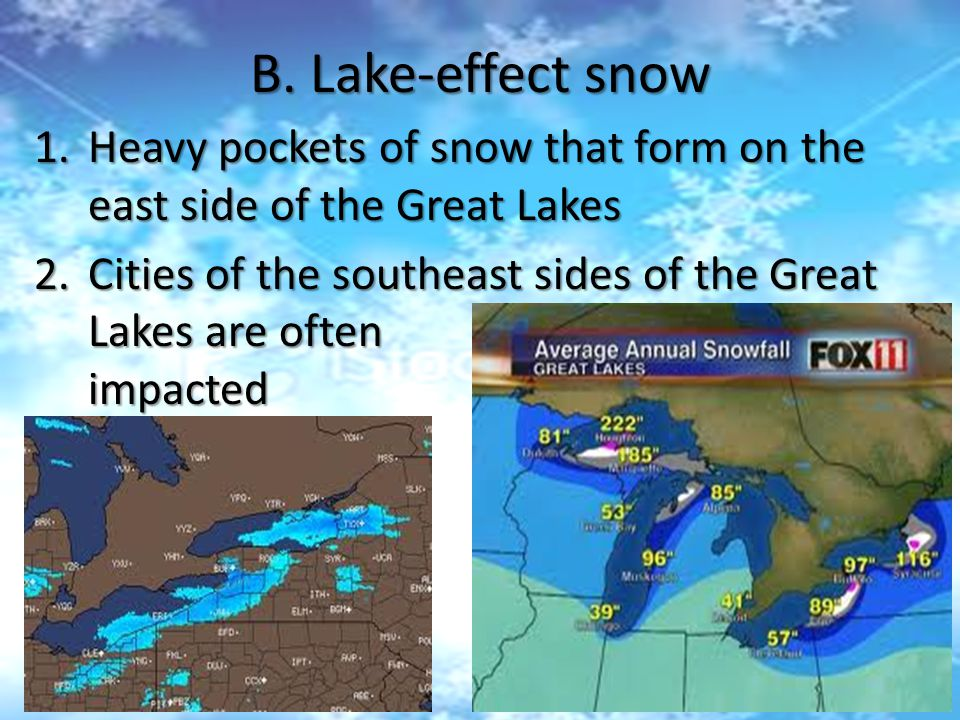B. Lake-effect snow 1.Heavy pockets of snow that form on the east side of the Great Lakes 2.Cities of the southeast sides of the Great Lakes are often