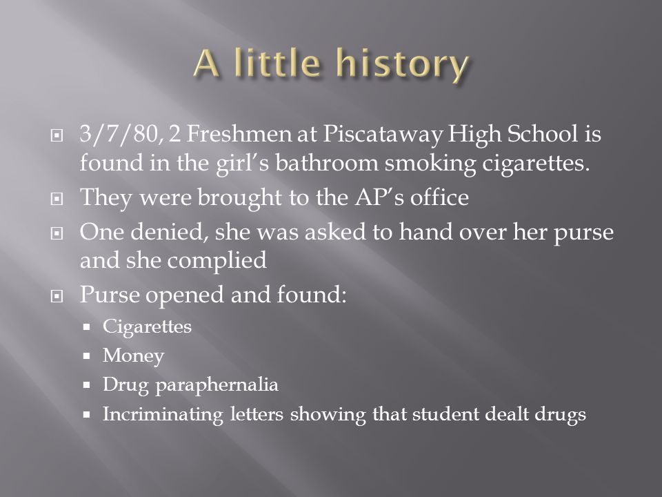  3/7/80, 2 Freshmen at Piscataway High School is found in the girl's bathroom smoking cigarettes.