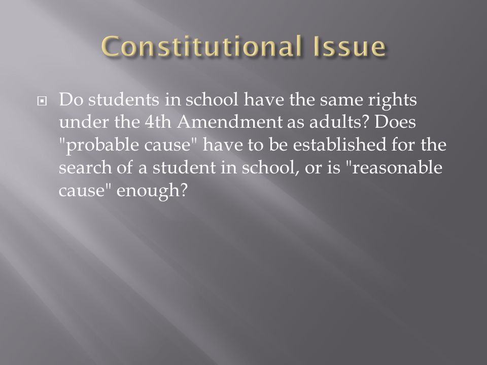  Do students in school have the same rights under the 4th Amendment as adults.