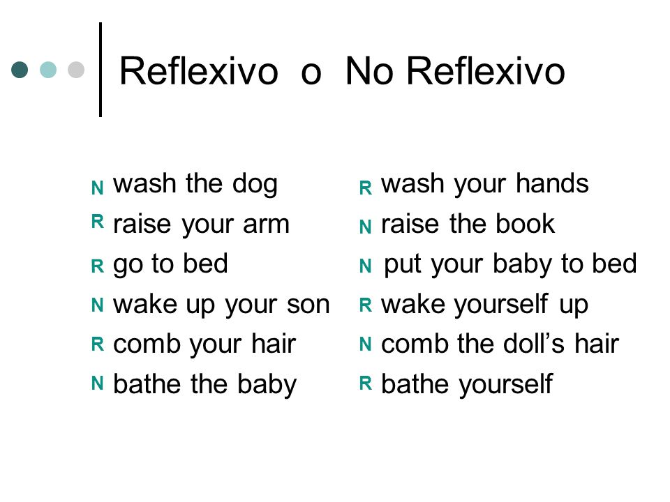 Reflexivo o No Reflexivo wash the dog wash your hands raise your arm raise the book go to bed put your baby to bed wake up your son wake yourself up comb your haircomb the doll's hair bathe the babybathe yourself N R R N R N R N N N R R