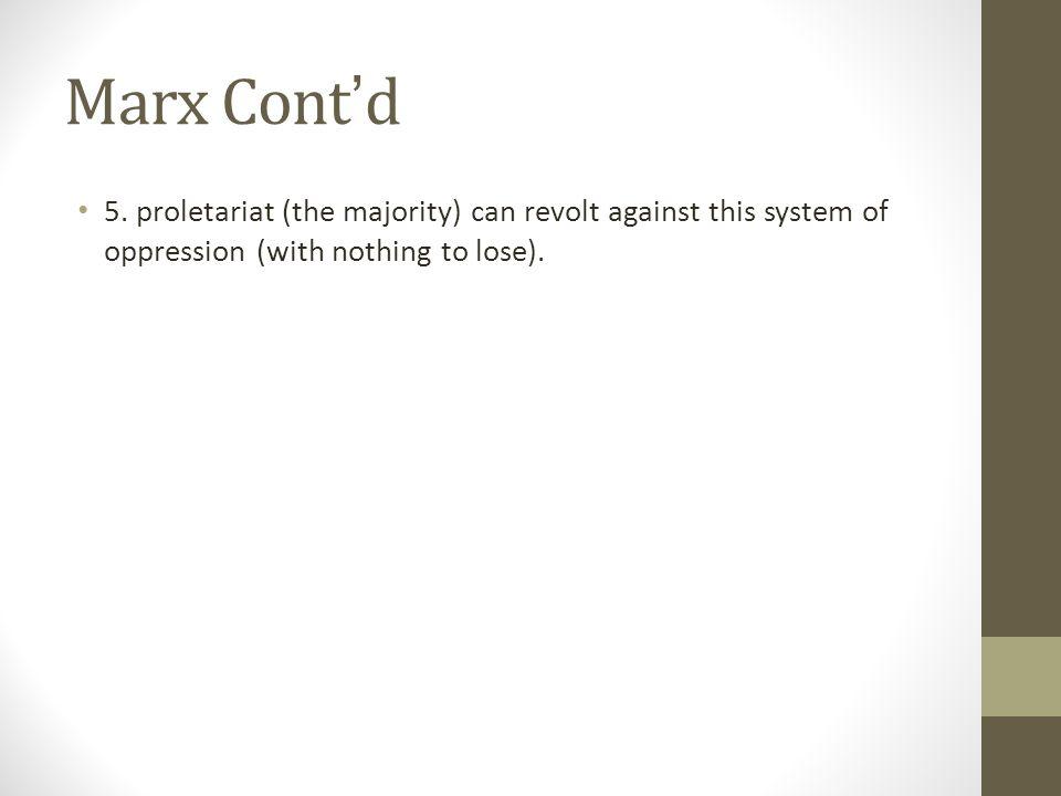 Marx Cont ' d 5.