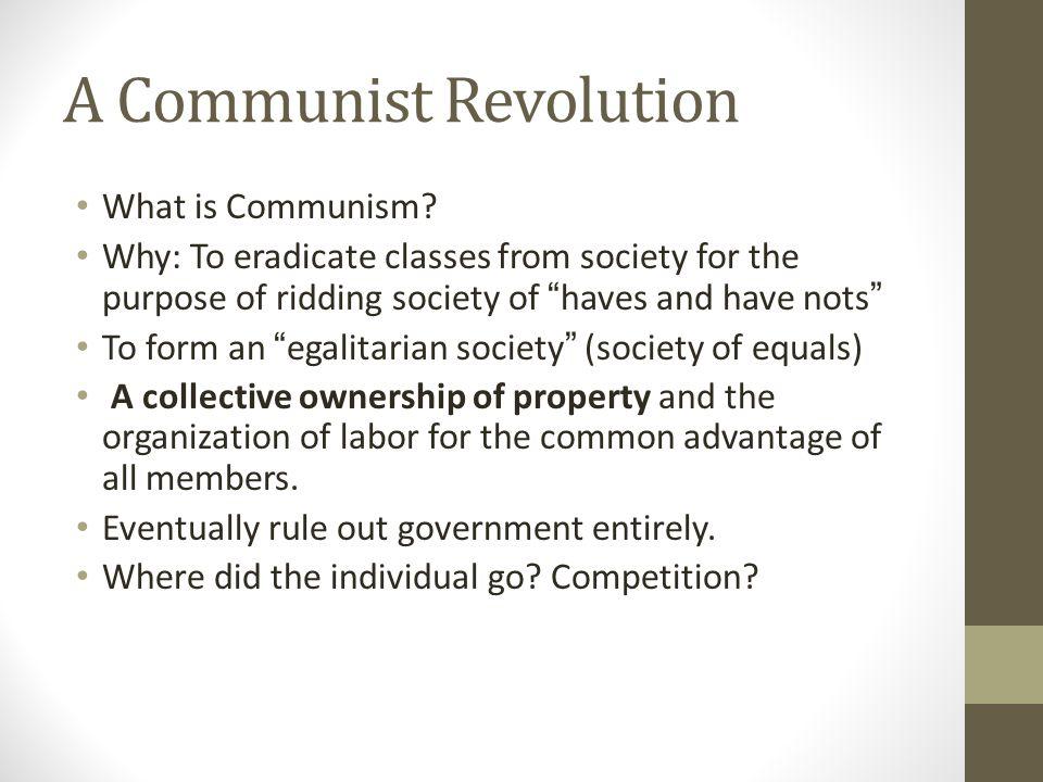 A Communist Revolution What is Communism.
