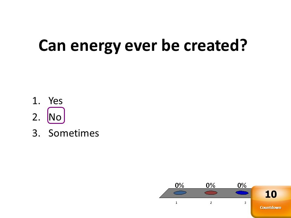 Can energy ever be created? 1.Yes 2.No 3.Sometimes Countdown 10