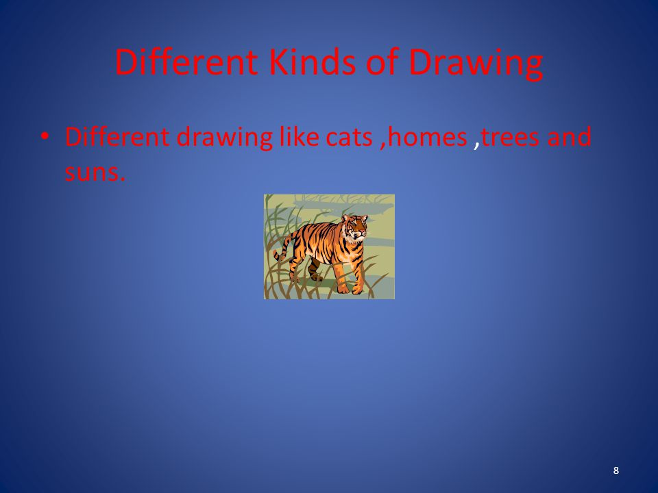 Different Kinds of Drawing Different drawing like cats,homes,trees and suns. 8