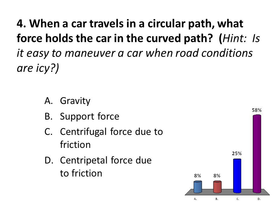 4. When a car travels in a circular path, what force holds the car in the curved path.