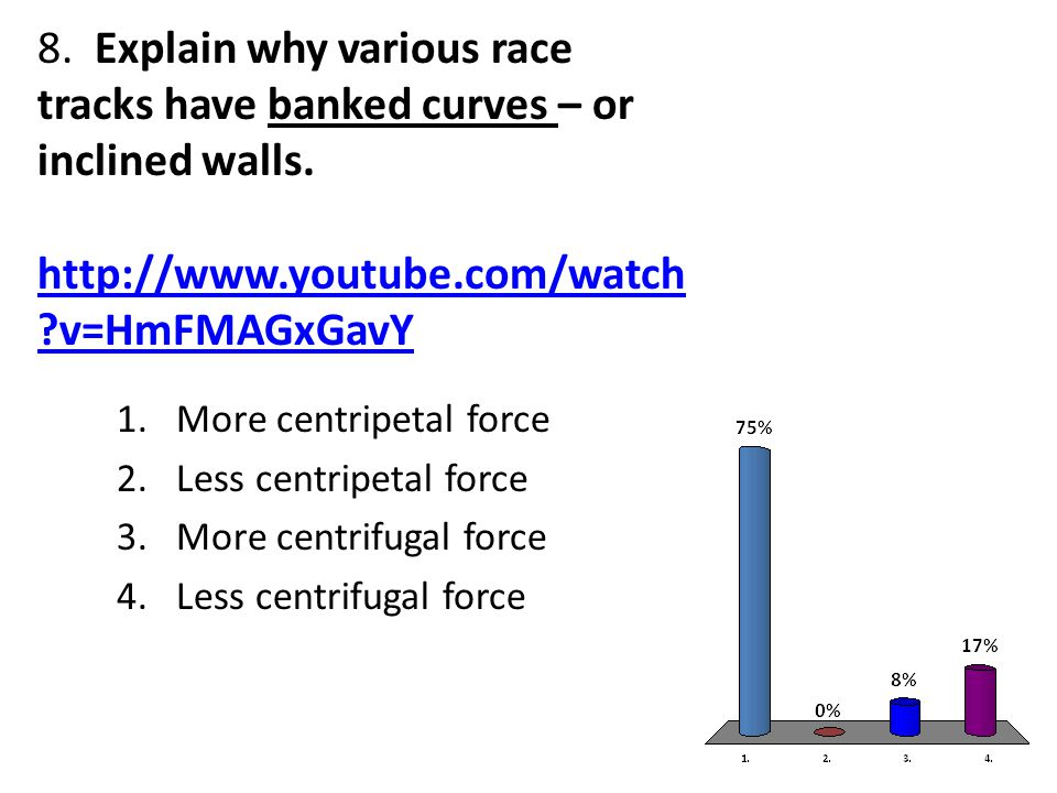 8. Explain why various race tracks have banked curves – or inclined walls.