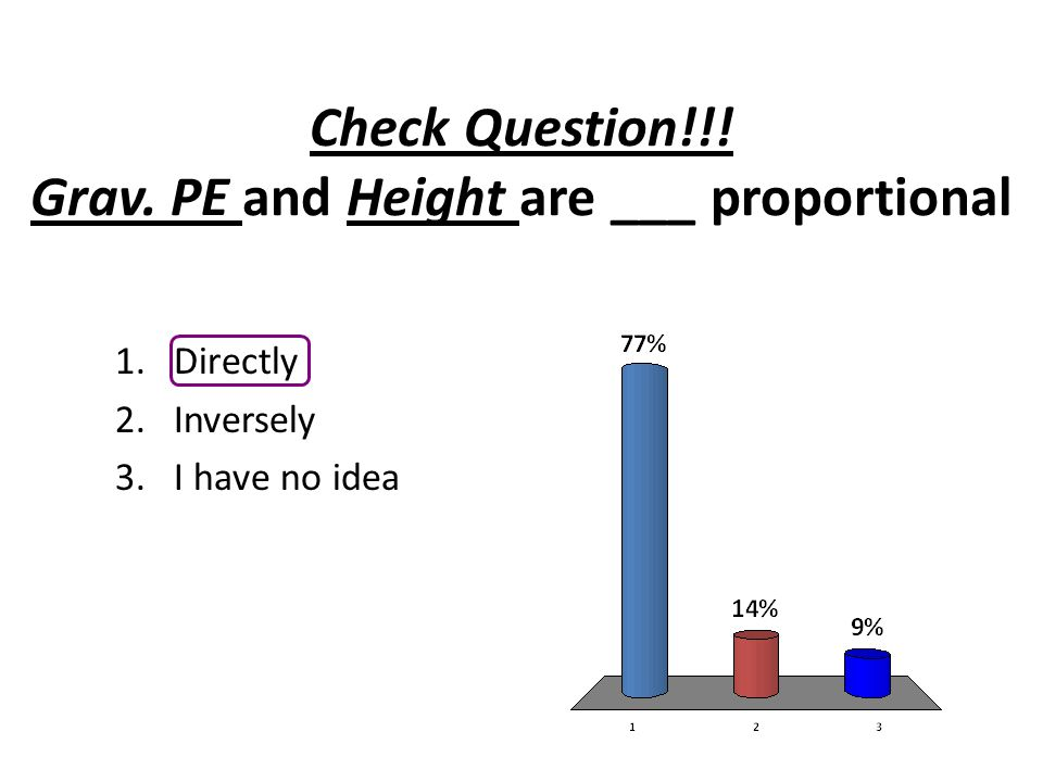 Check Question!!! Grav. PE and Height are ___ proportional 1.Directly 2.Inversely 3.I have no idea