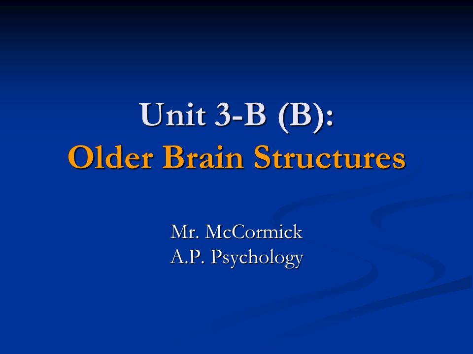 Unit 3-B (B): Older Brain Structures Mr. McCormick A.P. Psychology