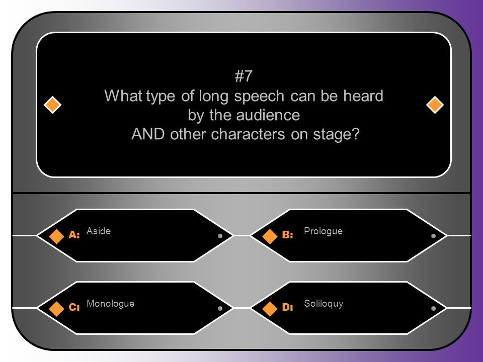 A:B: AsidePrologue #7 What type of long speech can be heard by the audience AND other characters on stage.