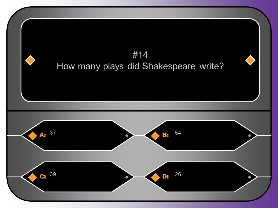 A:B: 3754 #14 How many plays did Shakespeare write C:D: 3926