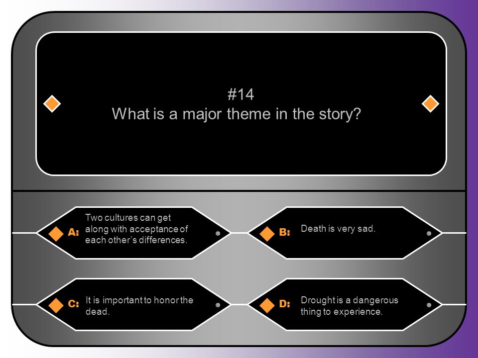 A:B: Two cultures can get along with acceptance of each other's differences. Death is very sad. #14 What is a major theme in the story? C:D: It is imp