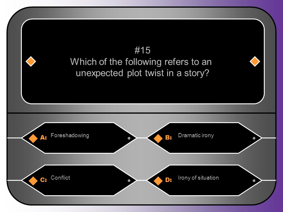 A:B: ForeshadowingDramatic irony #15 Which of the following refers to an unexpected plot twist in a story.