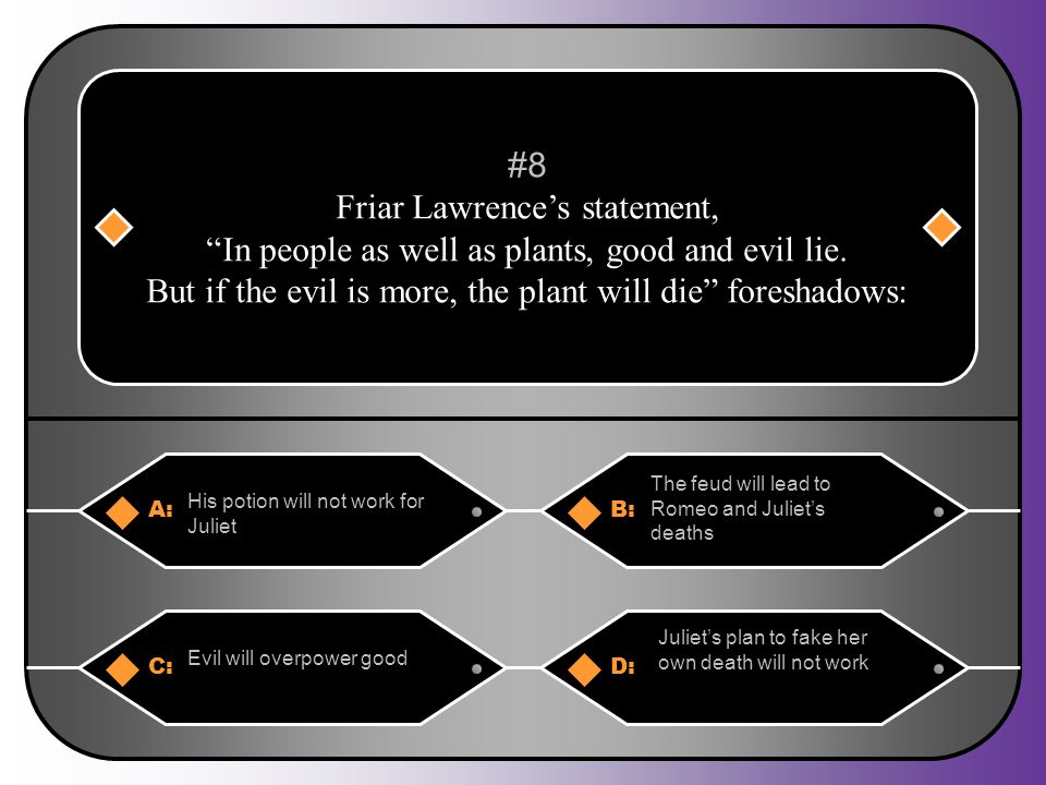"A:B: His potion will not work for Juliet The feud will lead to Romeo and Juliet's deaths #8 Friar Lawrence's statement, ""In people as well as plants,"