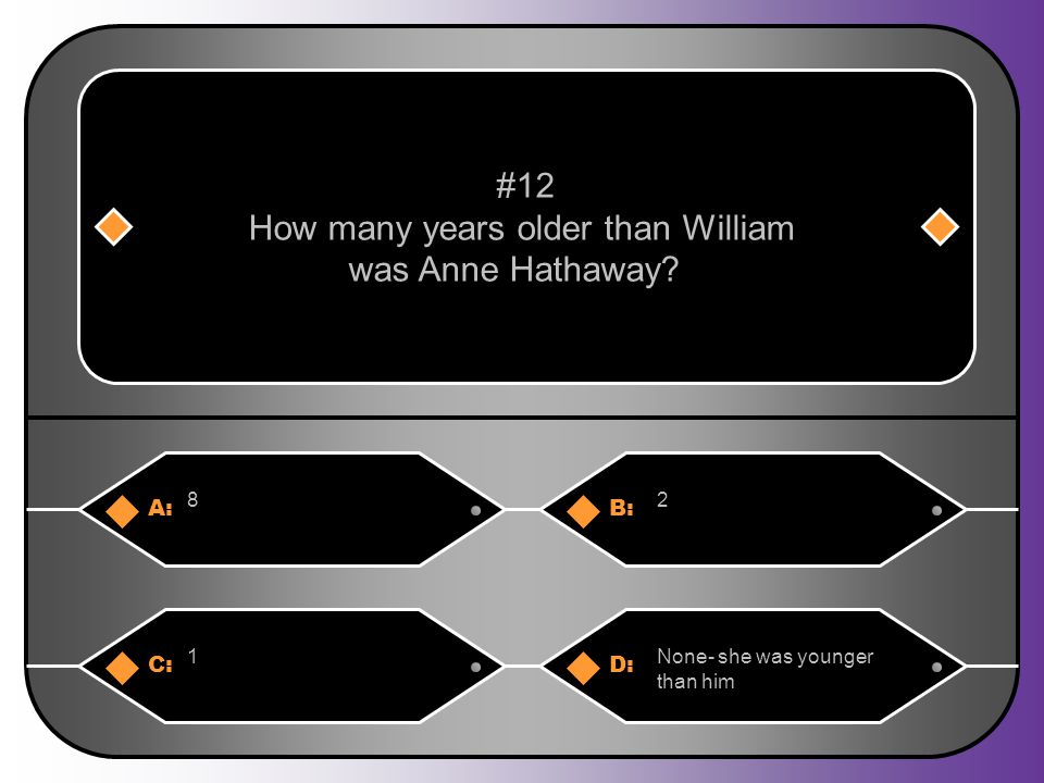 A:B: 82 #12 How many years older than William was Anne Hathaway? C:D: 1None- she was younger than him