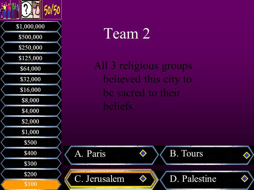 A.Paris B. Tours C. JerusalemD.