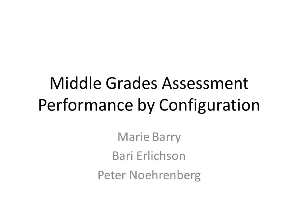 Using a statistical model helps answer the question whether configuration affects middle school performance on state achievement tests Configuration type falls into three broad camps: – K-8 ES (Kindergarten through 8 th grade ES) – 6-8 MS (6 th through 8 th grade MS) – Other (e.g.