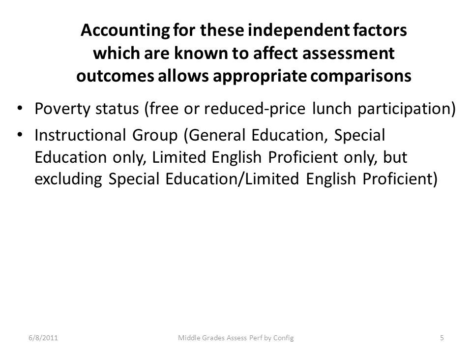 Accounting for these independent factors which are known to affect assessment outcomes allows appropriate comparisons Poverty status (free or reduced-