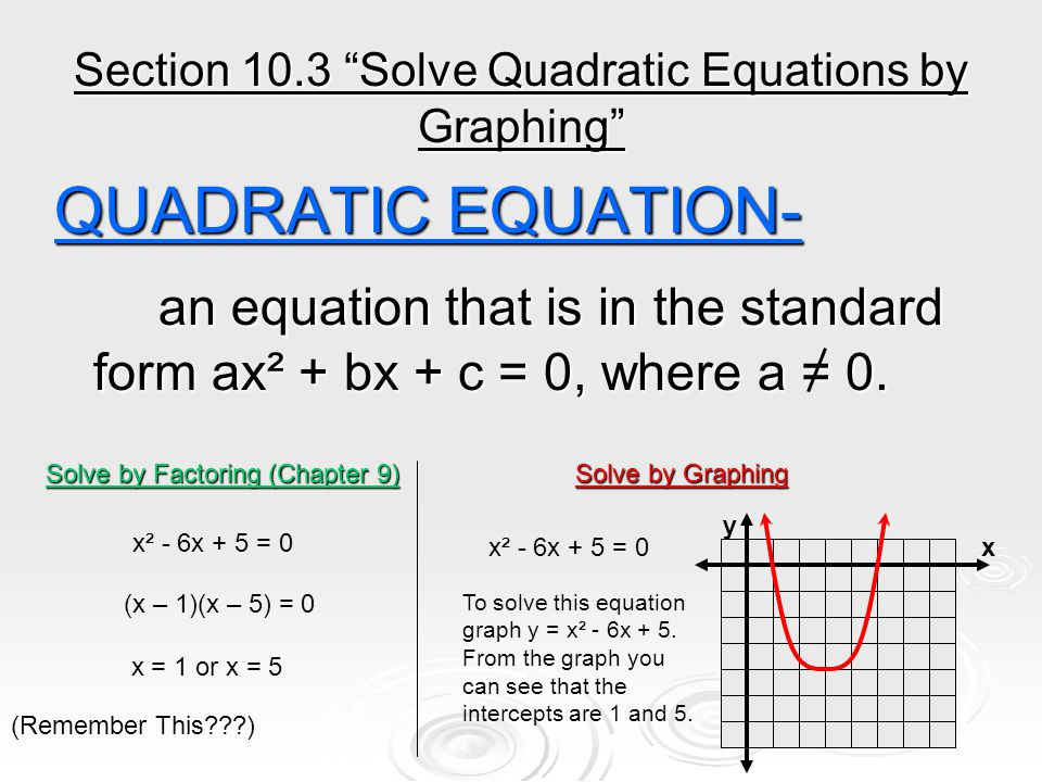 Section 10.3 Solve Quadratic Equations by Graphing QUADRATIC EQUATION- an equation that is in the standard form ax² + bx + c = 0, where a = 0.