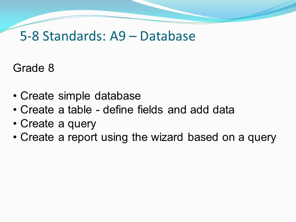 5-8 Standards: A9 – Database Grade 8 Create simple database Create a table - define fields and add data Create a query Create a report using the wizard based on a query