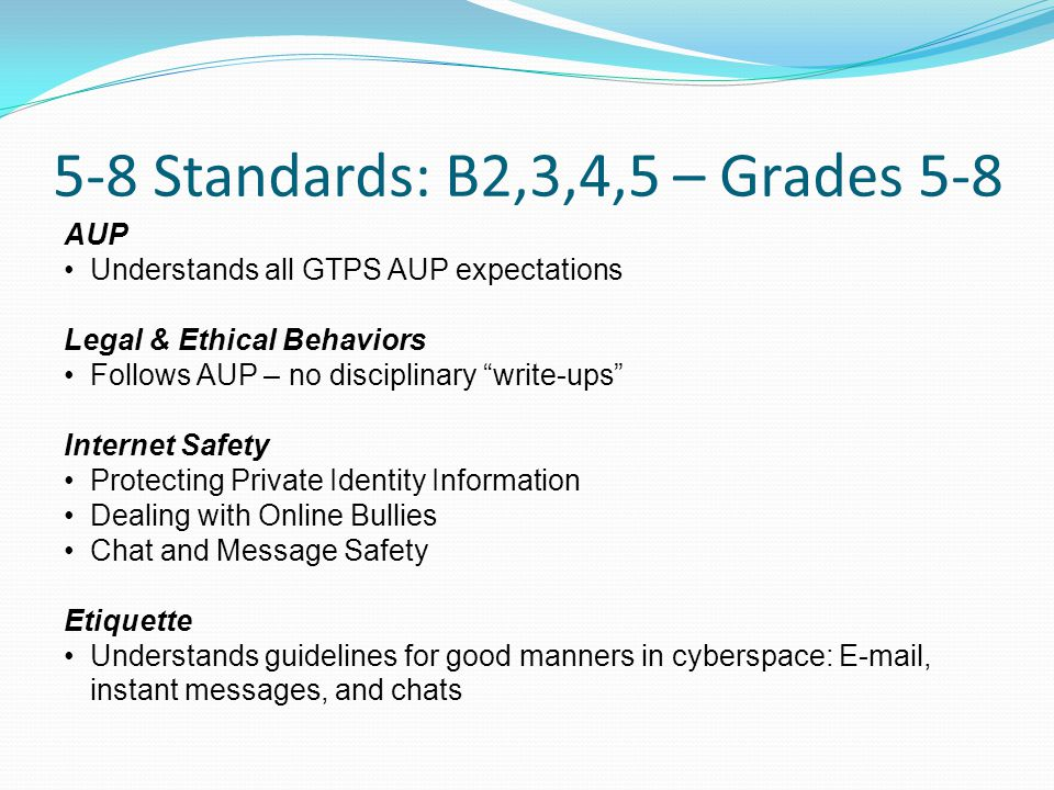 5-8 Standards: B2,3,4,5 – Grades 5-8 AUP Understands all GTPS AUP expectations Legal & Ethical Behaviors Follows AUP – no disciplinary write-ups Internet Safety Protecting Private Identity Information Dealing with Online Bullies Chat and Message Safety Etiquette Understands guidelines for good manners in cyberspace: E-mail, instant messages, and chats