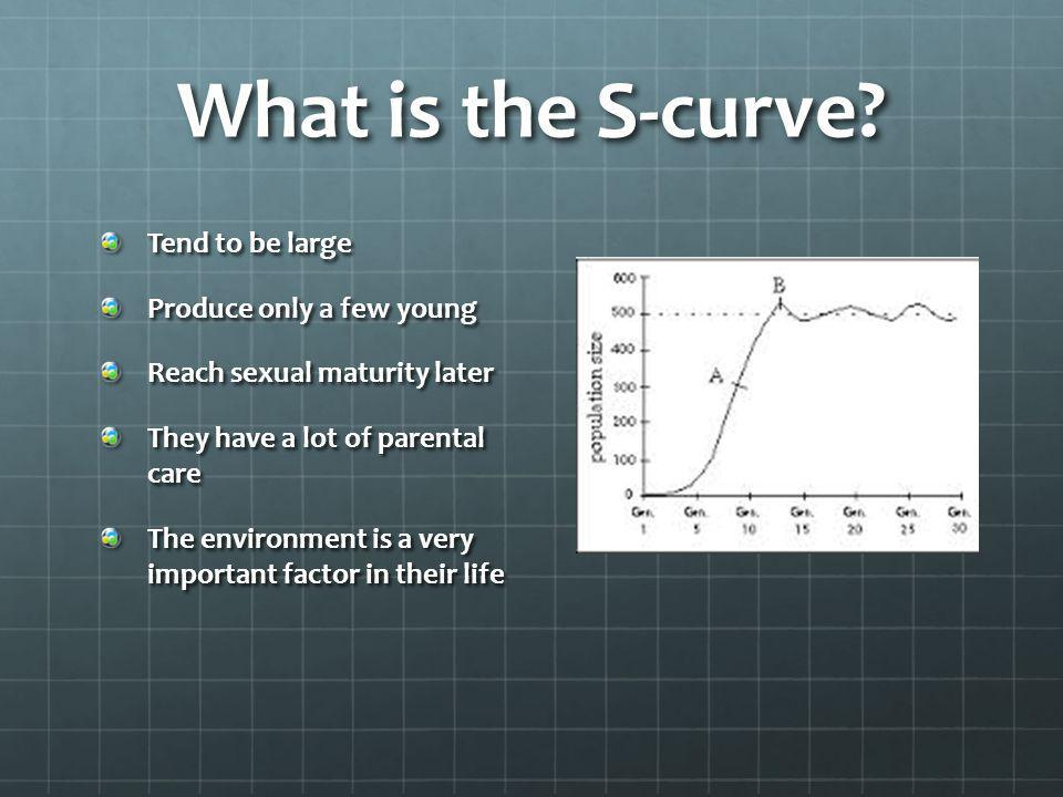 What is the S-curve? Tend to be large Produce only a few young Reach sexual maturity later They have a lot of parental care The environment is a very
