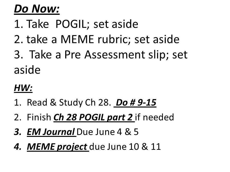 Do Now: 1. Take POGIL; set aside 2. take a MEME rubric; set aside 3.