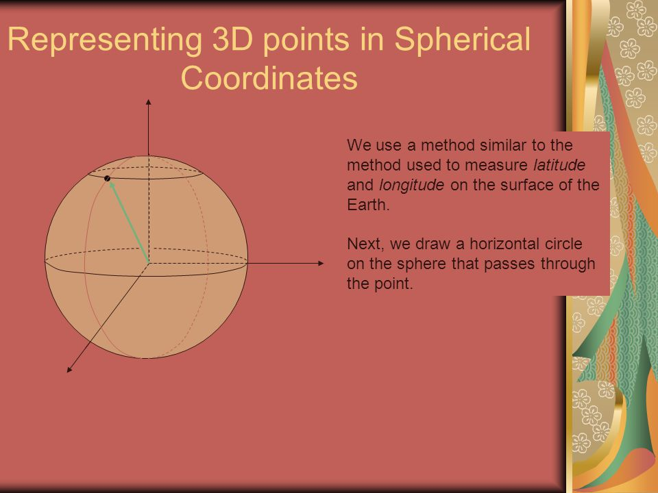 Representing 3D points in Spherical Coordinates We use a method similar to the method used to measure latitude and longitude on the surface of the Ear