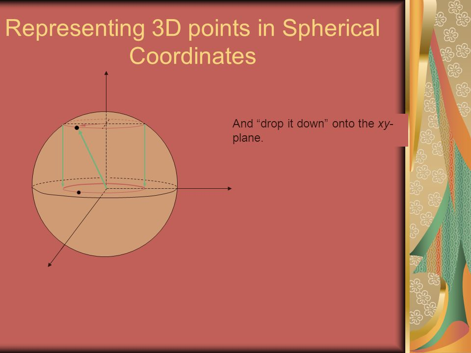 """Representing 3D points in Spherical Coordinates And """"drop it down"""" onto the xy- plane."""