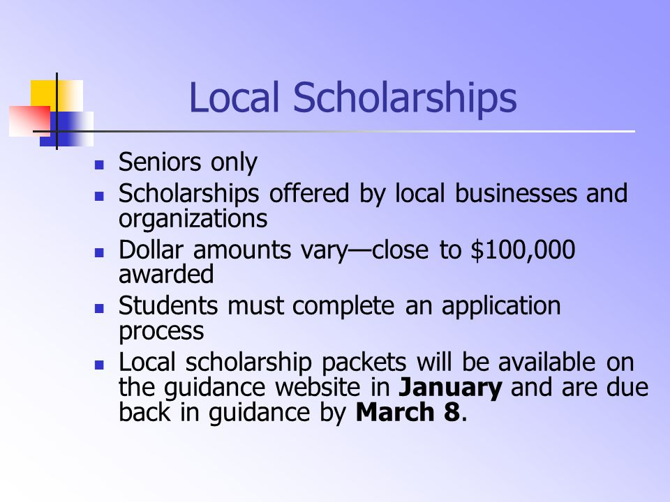 North Hunterdon Scholarships Seniors only Awarded by subject-area departments for students who excel in academics and who show strong leadership in the classroom Awarded by activity clubs Students must be NOMINATED by faculty and staff—they may not apply for these awards