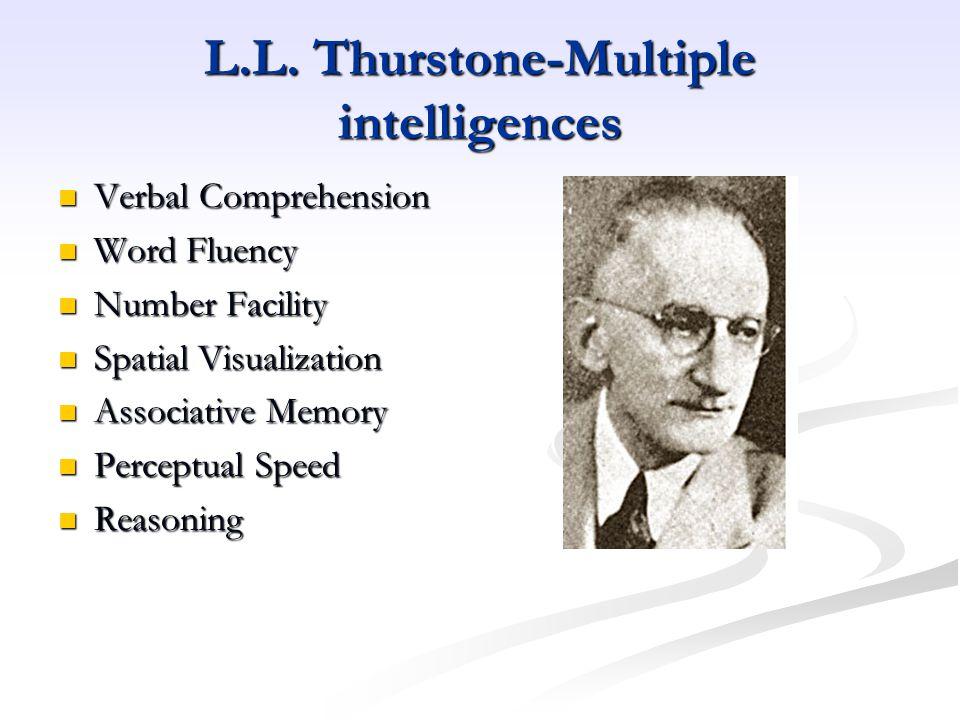 L.L. Thurstone-Multiple intelligences Verbal Comprehension Verbal Comprehension Word Fluency Word Fluency Number Facility Number Facility Spatial Visu