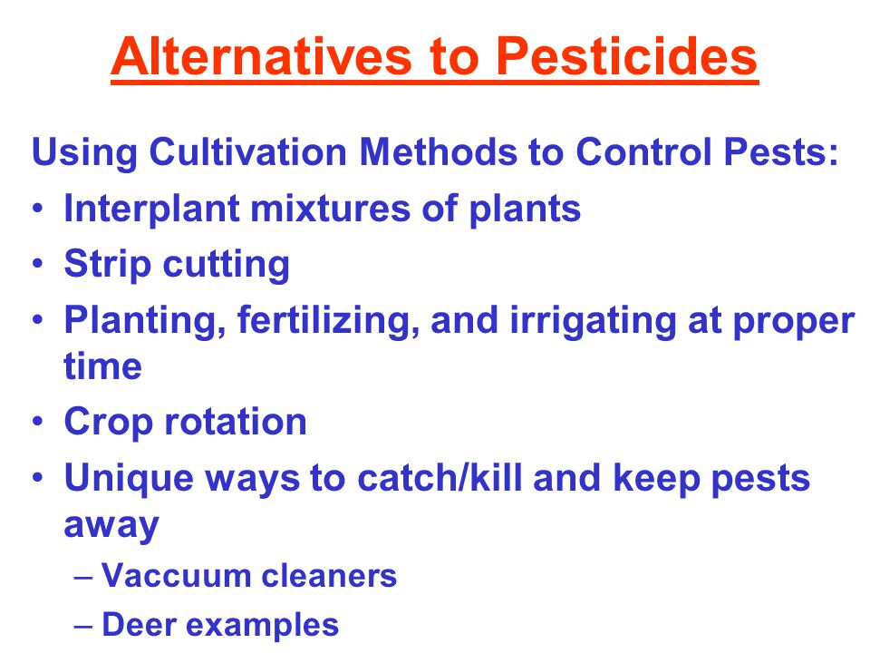 Alternatives to Pesticides Using Cultivation Methods to Control Pests: Interplant mixtures of plants Strip cutting Planting, fertilizing, and irrigating at proper time Crop rotation Unique ways to catch/kill and keep pests away –Vaccuum cleaners –Deer examples