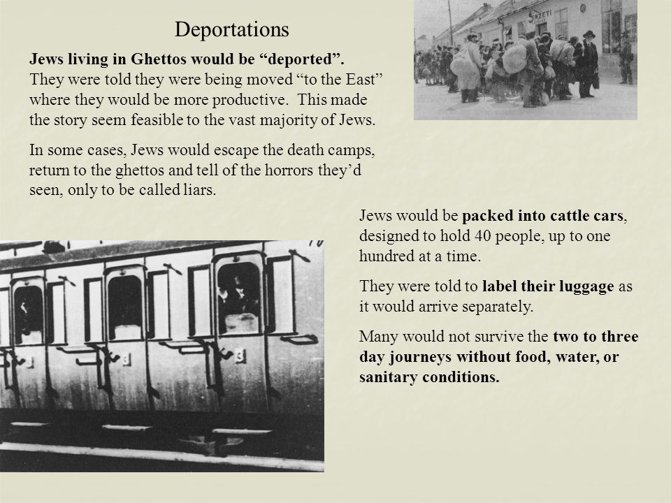 """Deportations Jews living in Ghettos would be """"deported"""". They were told they were being moved """"to the East"""" where they would be more productive. This"""