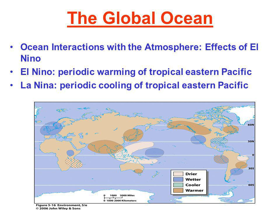 The Global Ocean Ocean Interactions with the Atmosphere: Effects of El Nino El Nino: periodic warming of tropical eastern Pacific La Nina: periodic cooling of tropical eastern Pacific